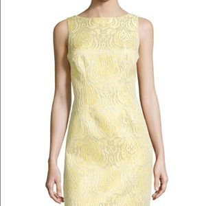 Chetta B Metallic Filigree Brocade Cocktail Dress